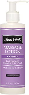 Bon Vital' Swedish Massage Lotion for Skin Tone Improvement, Dry Skin Repair, Increased Circulation, and Stress Relief, Great for Massage Therapists Who Perform Swedish and Sports Massages, 8 Oz