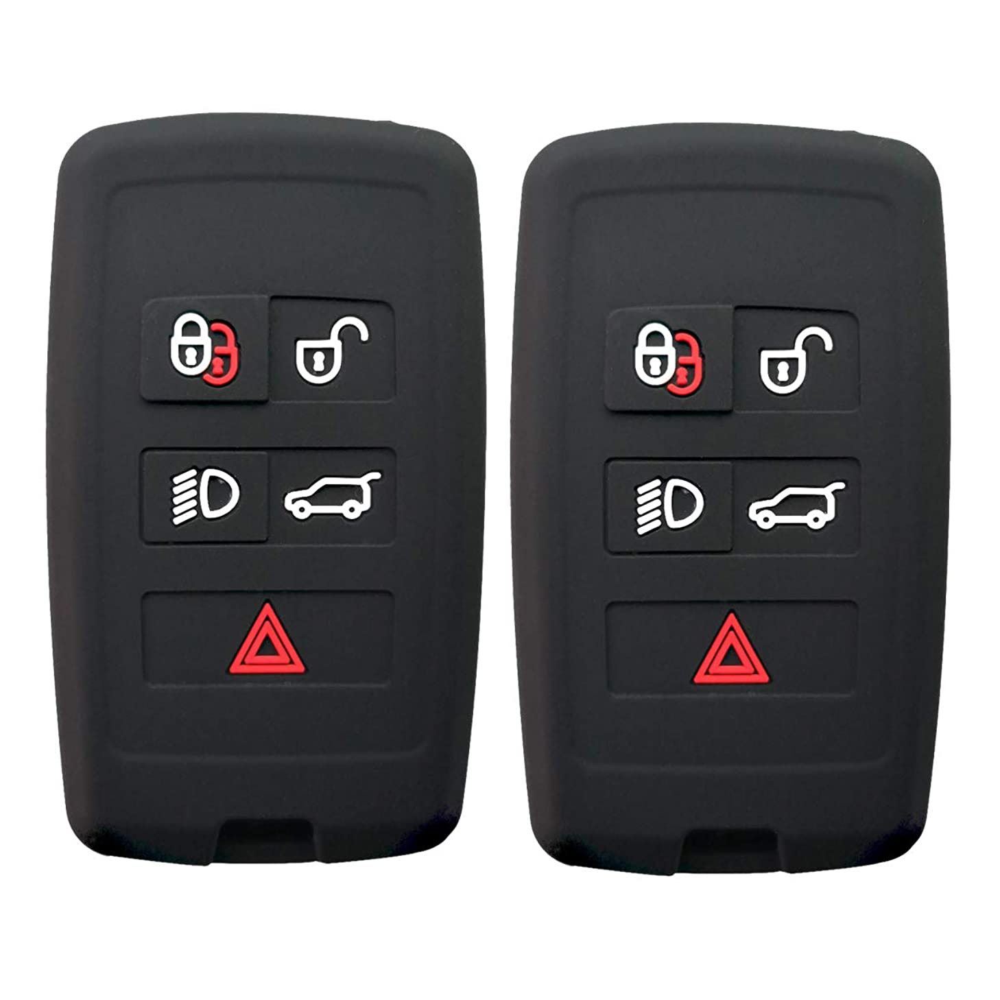 Coolbestda Compatible for Land Rover Range Rover Sport Evoque Velar Discovery 5 Silicone 5buttons Key Fob Remote Case Protector Holder Skin Jacket Accessories 2Pcs