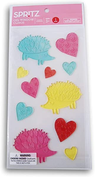 Holiday Valentine S Day Hedgehog Hearts Gel Window Clings 11 Piece