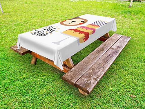 ABAKUHAUS Verjaardag Tafelkleed voor Buitengebruik, Birthday Cake Make a Wish, Decoratief Wasbaar Tafelkleed voor Picknicktafel, 58 x 120 cm, mosterd Multicolor