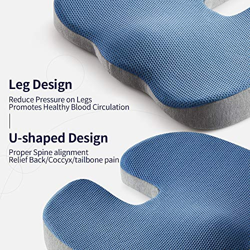 Jiaao Large Memory Foam Lumbar Support Pillow - Orthopedic Design for Relieves Lower Back Pain, Back Cushion for Office Chairs & Car, Breathable Cover, Adjustable Strap