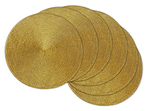 DII Round Braided & Woven, Indoor/Outdoor Placemat or Charger, Set of 6, Metallic Gold