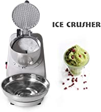 WJSW Ice Crusher, Electric CE Ice Shaver Machine, Silver Snow Cone Maker for Ice Cream, Cold Drinks, Fruit Dessert, 65Kg/Hour for Household & Commercial Use UK in Stock