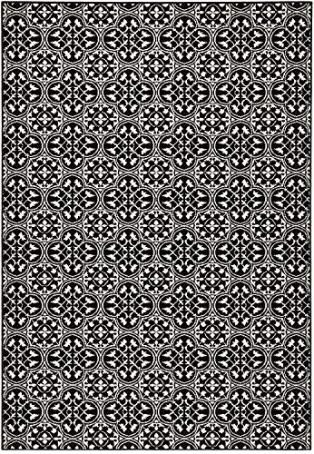 Bavaria-Home-Style-Collection Designer Teppich Wohnzimmer Teppiche Fliesen Ornament Muster Look Stil Design Koralle Rot Vreme Braun Beige Schwarz 160 x 230 cm (Schwarz Creme)