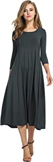 Hotouch Women's 3/4 Sleeve A-Line and Flare Midi Long Dress