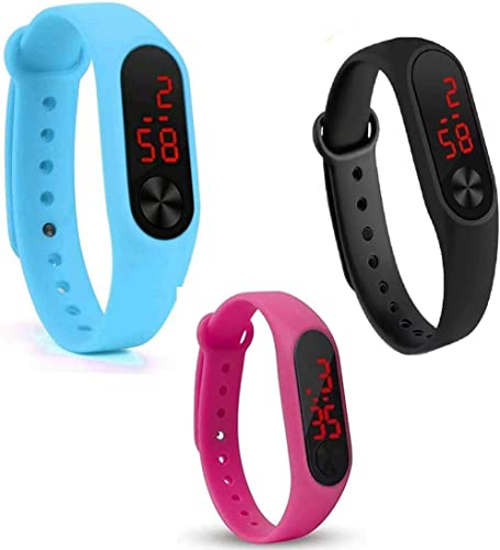 Titox Silicone Slim Digital LED Black Red Dial Boy s and Girl s Bracelet Band Watch Combo Set of 3 Watch Color May Vary