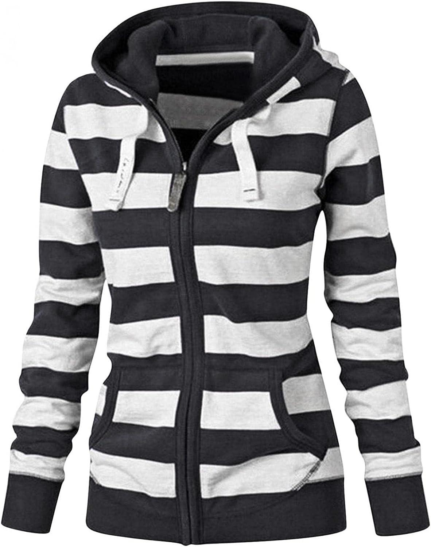 Women's Full Zip Up Hoodie Long Sleeve Hooded Sweatshirts Lightweight Plus Size Striped Pockets Jacket Coat