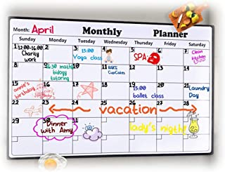 "Rabbitgoo Dry Erase Monthly Calendar 2019 - Fridge Magnetic Calendar Whiteboard Organizer for Smart Planners, Refrigerator Marker Board Calendar for Home, Office, School, 43 x 30cm, (17"" x 11.8"")"