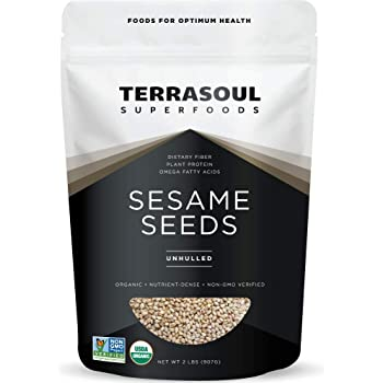 Terrasoul Superfoods Organic Unhulled Sesame Seeds, 2 Lbs - Gluten Free, Raw, Keto Friendly