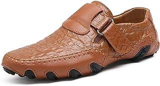 [MUMUWU] サイズ47のドレスシューズまでの本革の靴のメンズローファーフラットヒールスリップ