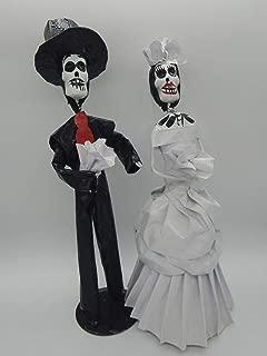 COLOR Y TRADICIÓN Mexican Catrina Doll Paper Mache Figure Day of The Dead Handmade Art Skull Bride and Groom Wedding Couple #1511