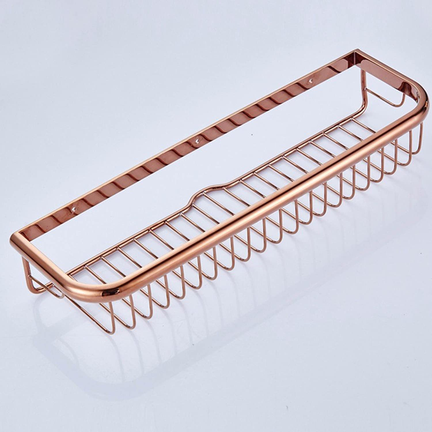 XY&XH Toilet full copper 45cm Four square coated pink gold single layer basket rack Pendant