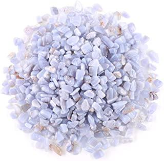 Swpeet 1 Pound Blue Chalcedony Small Tumbled Chips Stone Gemstone Chips Crushed Pieces Irregular Shaped Stones Crystal Chips Stone Perfect for Jewelry Making Home Decoration