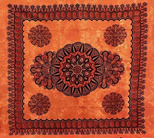 Telo Arredo Copritutto Grande Crochet 210x230 cm 100% Cotone Indiano Stampato Copri divano Gran foulard con Frange (Arancione)