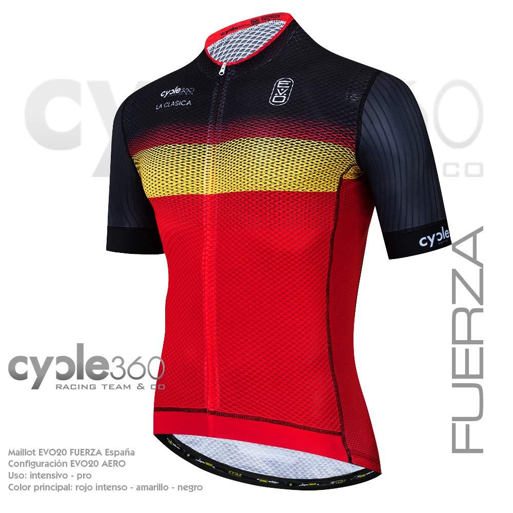Cycle360 Maillot Ciclismo Manga Corta, Gama Deportiva EVO20. Mod. Fuerza España Talla L: Amazon.es: Deportes y aire libre