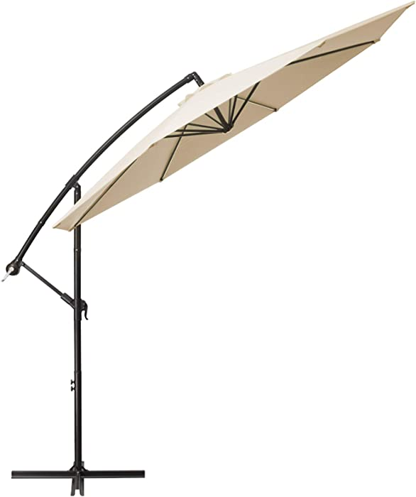 TUMUCUTE 10ft Patio Offset Umbrella Cantilever Patio Umbrella Hanging Market Umbrella Outdoor Umbrellas with Crank and Cross Base,for Lawn, Garden, Deck, Backyard & Pool-Beige
