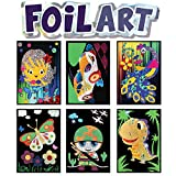 VHALE Foil Art Sticker Picture Kit, with 6 Pictures (9.5 x 6.5 inch), 64 Foil Sheets and 6 Skewers, Peel and Paste Sparkly Foil Art, Classroom Arts and Crafts, Great Travel Toys, Party Favors for Kids