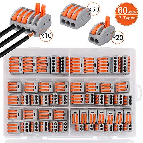 60 Stück Verbindungsklemme,DIAOPROTECT Klemmen Set,3 verschiedene Typen Steckklemmen,20 Stück Klemme 2 Polig,30 Stück Klemme 3 Polig,10 Stück Klemme 5 Polig