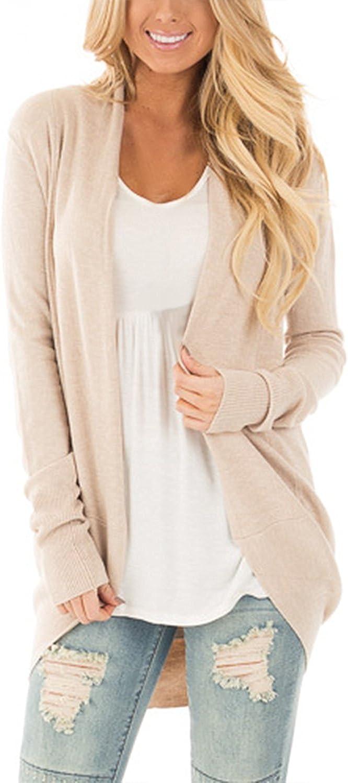 Cnfio Womens Cardigan Open Front Long Sleeve Knitwear Outwear Basic Sweater