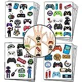 Pegatinas de tatuajes temporales de videojuegos para jugadores, controladores, auriculares, suministros de decoración para fiestas de arcade (20 hojas)