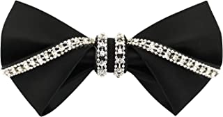 Men's 100% Satin Silk Luxury Crystal Rhinestone Shining Pre-tied Solid Bow Ties Bling Bowties