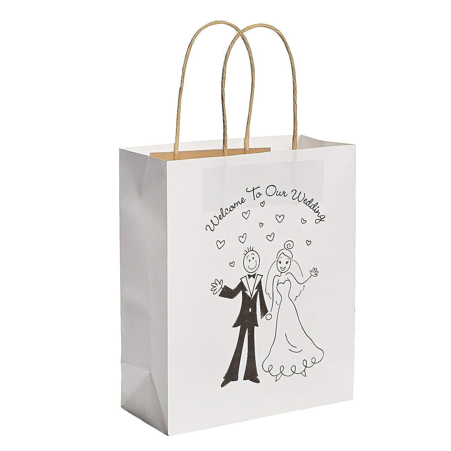 Medium Happy Couple Kraft Paper Gift Bags - Pack of 12