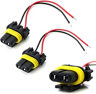iJDMTOY (2) 9006 9012 HB4 Female Adapter Wiring Harness Sockets w/ 4-Inch Wires For Headlights Fog Lights Repair or Retrofit