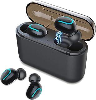 [2019最新版Bluetooth5.0+EDR搭載 進化版] Bluetooth イヤホン ワイヤレス ブルートゥース ヘッドセット IPX5防水 HIFI高音質 超軽量 マイク内蔵 左右分離型 両耳 1500mAh超大容量充電ケース付き 日本語説明書付き 自動ON/OFF ヘッドセット 片耳&両耳とも対応 CVC6.0ノイズキャンセリングiPhone/ipad/Android/Windows/iOS適用