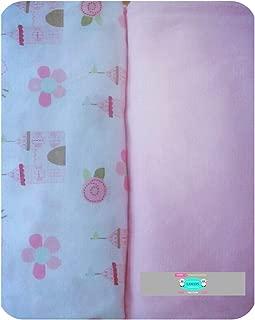 Changing Pad Cover Set by LANCON Kids - 2 Pack Cradle Sheet Set 100% Jersey Knit Cotton (Pink & Castle)