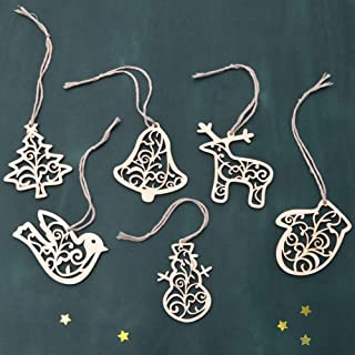 Polytree Christmas Tree Decorations, 6Pcs/Set Hollow Wooden Reindeer Snowman Hanging Ornament Holiday Party Decor Xmas Gift
