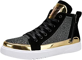 DGG7 Men's Casual Shoes Colorful Mirror Trend Sneakers Nightclubs Sequins High-Top Shoes