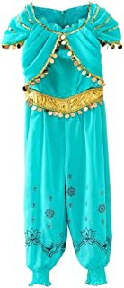 Girls One Piece Princess Jasmine Dress Up Aladdin Halloween Costumes Party Bodysuit