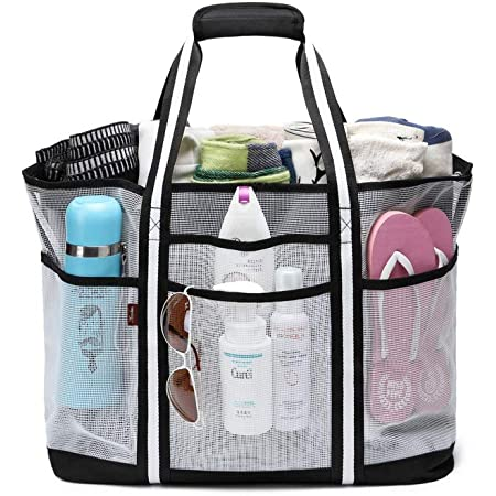 Acmebon Strapazierfähige, großmaschige Strandtasche für Frauen, Tragetasche, Sporttasche mit 9 Fächern Weiß