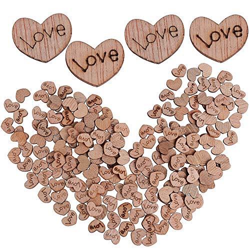 VINFUTUR 200 Stk Herz Holzscheiben Deko zum Basteln Holzherzen Streudeko mit Gravur Love Mini Vintage Holzherz Tischdeko Verzierung für DIY Handwerk Hochzeit Valentinstag Taufe Jahrestag Heiratsantrag