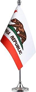 Best GentleGirl.USA California State Flag Californians CA Flag, Small Mini California State Flag Desk Flag Stick Office Table Flag on Stand Base,Festival Events Celebration,Home Decoration Review
