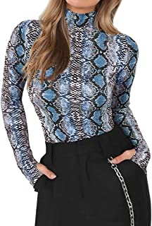 ShallGood Damen Bodysuit Herbst Langarm Rollkragen Elegant Onesie Schlangen Slim Fit Romper Overall Druck Langarm Rollkragenshirt Stretch Playsuit