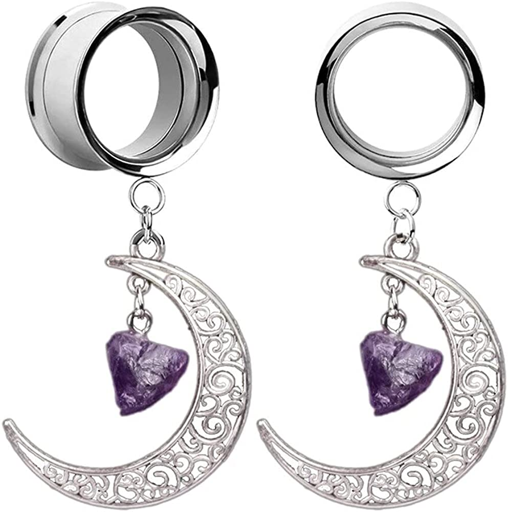 Casvort 2 PCS Stainless Steel New Double Flared Moon Stone Dangle Ear Plugs Tunnels Gauges Stretcher Piercings Body Jewelry (0g-1'')