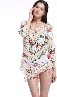 LUKEEXIN Women's Floral Printed Half Sleeve Swimsuit Cover Ups Beachwear (Color : Beige, Size : One Size)