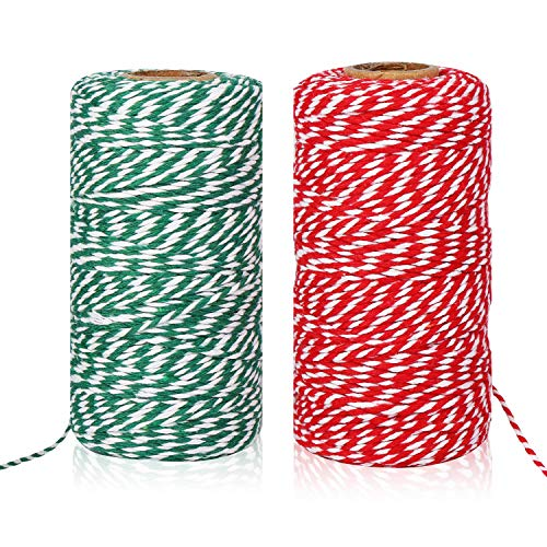Christmas Twine, Natural Cotton Bakers Twine Red & White 200M (656 Feet), Packing String, Durable Rope for Holiday Gift Wrapping