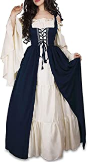 Womens's Medieval Renaissance Costume Cosplay Chemise and Over Dress