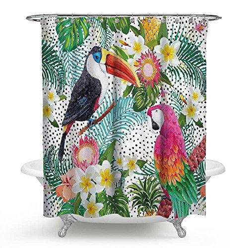 Huakz Schwarz & Pink Papageien Paar Love Dusche Vorhang grün Tropical Palm Blätter Badezimmer Decor Polyester Stoff Weiß Polka Dots Bad Vorhang für die Dusche 177,8x 177,8cm
