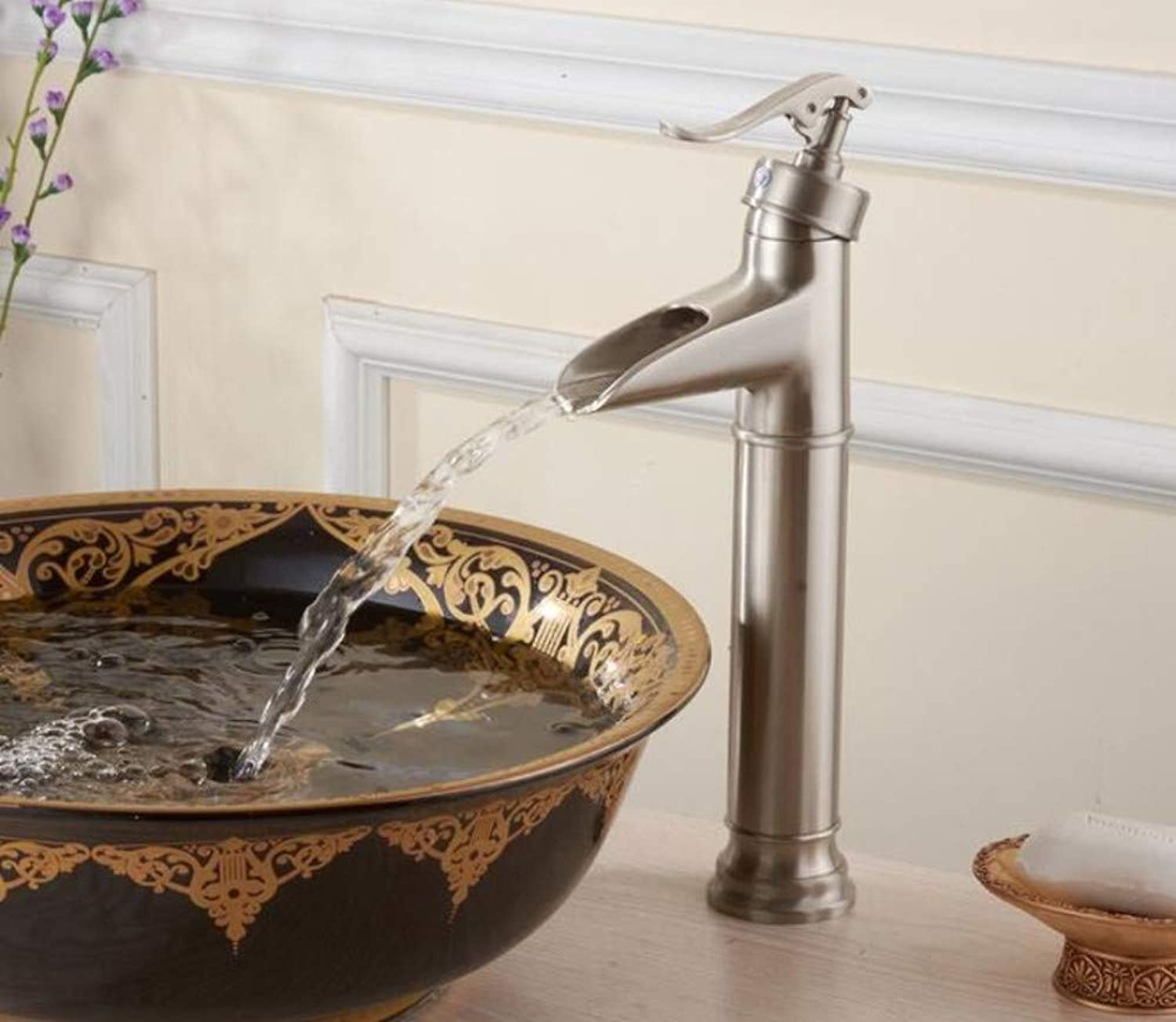 Xiehao Bathroom Waterfall Nickel Brushed Single Hole Deck Mounted Mixer Taps Bathroom Hot and Cold Water Basin Faucets