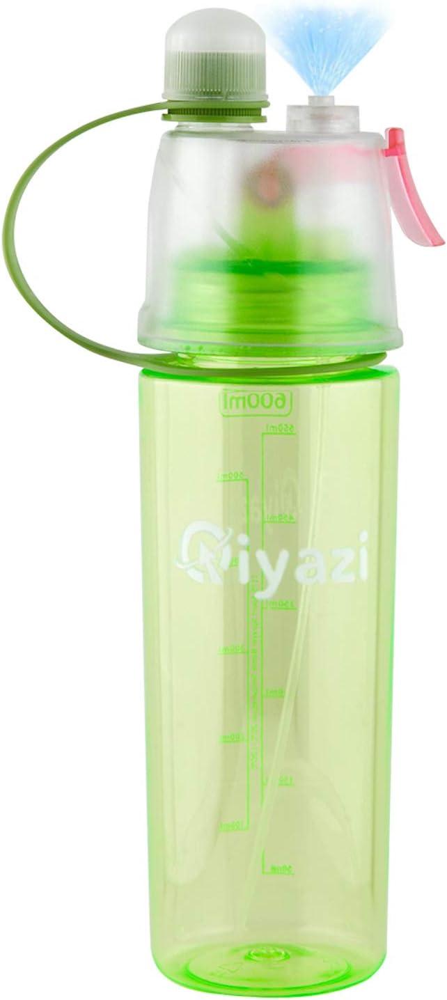 Qiyazi Botella con Vaporizador para Agua y Deporte, Libre de BPA & Ftalato para Hidratar el Cuerpo y Beber Niños con Cuatro Opciones (Rosa, Azul, Verde, Negro)(Verde)