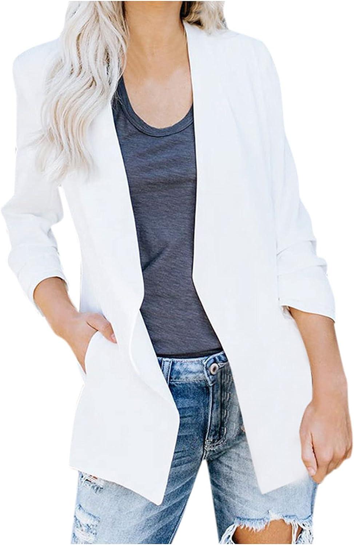 Blazer Jackets for Women Long Sleeve Silk Satin Formal Pockets Work Office Suit Coat Casual Small Blazer Cardigan