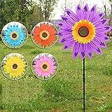 Molino de Viento de Girasol de Doble Capa Grande Spinner de Viento para niños Juguetes para Patio decoración de jardín Spinner de Triple arcoíris
