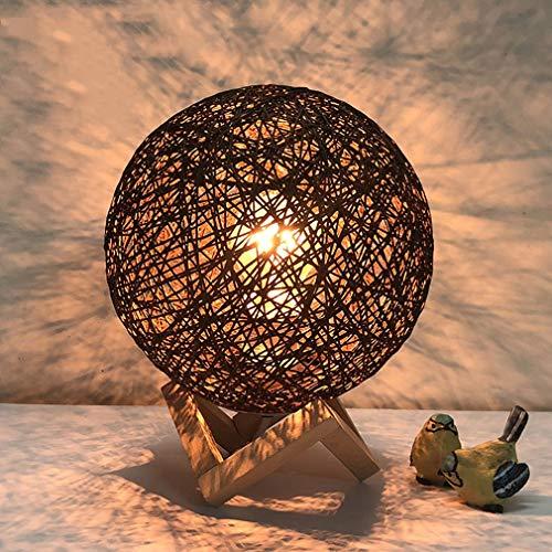 Moderne Tischlampe Schlafzimmer Nachttischlampe Warmes Licht Warm Kinderzimmer Ball Form Tischlampe, E27, 20 * 25 CM, Maximum 40 Watt, Braun