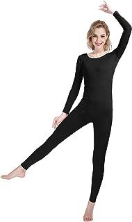 Women's Well-fit Spandex Lycra Bodysuit Long Sleeve Scoop Neckline Footless Dance Unitard