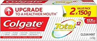 Colgate Total Toothpaste, Clean Mint, 150g (Pack of 2)
