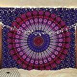 Mandala Tapicería - Hippie Colgar de la Pared Bohemia Colcha Manta de Algodón Decoración del Dormitorio - Rosado y Purpura - 213 x 137 cm