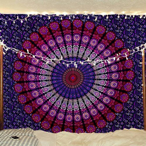 Indian Mandala Tapestry - Hippie Peacock Feather Wall Hanging Bohemian Bedspread 100% Cotton Dorm Decor Beach Blanket - Pink and Purple - 84 X 54 Inches